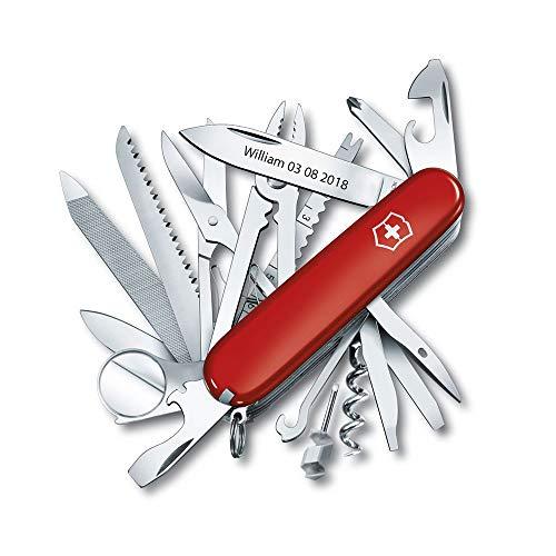 Bonkoo Personalisierte Victorinox Taschenmesser mit Gravur SwissChamp 91 mm 33 Funktionen 1.6795