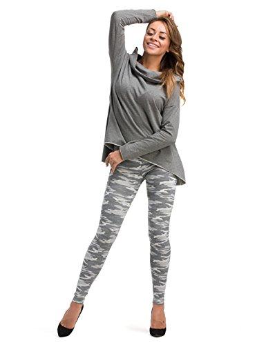 yeset Damen Leggings lang hoher Bund Hose Muster Leggins Stretch gekämmte Baumwolle Muster-13 XL