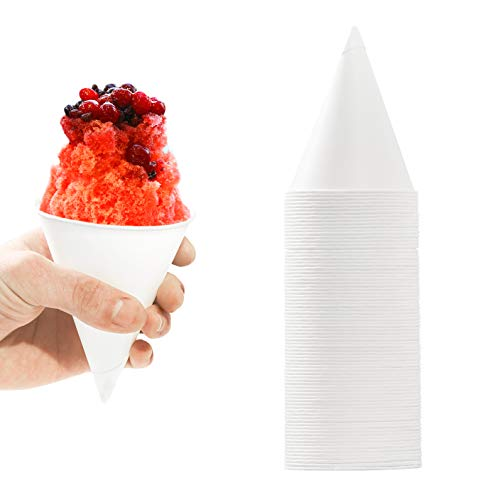 Eco Friendly, Leak Proof Paper Cups 100 Pack. Perfect 6 Oz Snow Cone Cups for Kids Parties or Weddings. Great Cup for Office Water Cooler. Best Sno Cone Maker Machine Accessories or Disposable Funnel