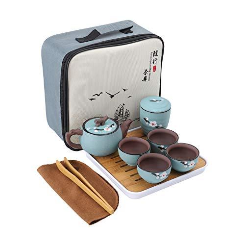 fanquare Japanisches Tragbare Reise Kung Fu Tee Set,Kirschblüte Zisha Tee Service für Erwachsene, 1 Teekanne, 4 Teetassen und 1 Teekanister mit Reisetasche