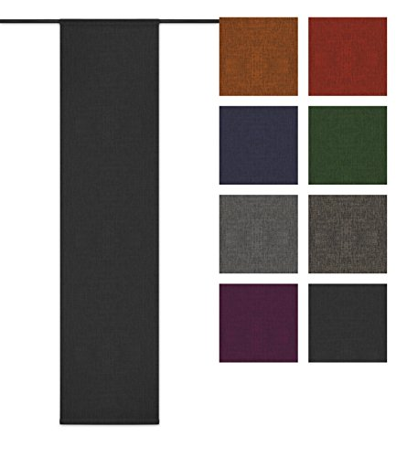 Rollmayer Blickdicht Leinenoptik Schiebevorhang/Flächenvorhang im 60x245CM Melange (Grafit 22, IKEA System) Schiebepaneele Schiebegardine Vorhang Raumteiler