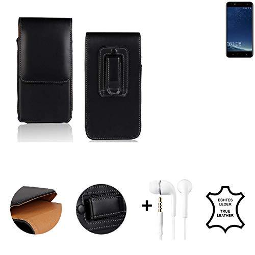 K-S-Trade® Leder Gürtel Tasche + Kopfhörer Für M-Horse Power 2 Seitentasche Belt Pouch Holster Handy-Hülle Gürteltasche Schutz-Hülle Etui Schwarz 1x