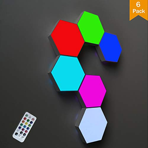 ODISTAR Remote Control Hexagon Wall Light,Smart Wall-Mounted Touch-Sensitive DIY Geometric Modular Assembled RGB led Colorful Light with USB-Power,Used in Bedroom,Living Room Decoration (6-Pack)