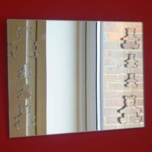 Miroir rectangulaire 30 cm x 20 cm avec Quatre Grandes Ourson et Quatre Petits Ours en Peluche miroirs