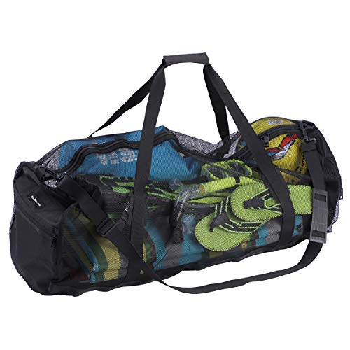 Leberna Extra Large Mesh Duffel Bag for Scuba Diving, Snorkeling, Swimming and Camping, Foldable Oversized Beach Duffel Bag with Adjustable Shoulder Strap