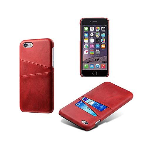 Funda de piel sintética para iPhone 4, 4S, 5, 5S, 5C, SE, 6, 6S, 7, 8 Plus, XS, XS, XS, XX, XS, Max, 11, Pro Max, ranuras para tarjetas, teléfono móvil, de piel sintética, para 5, 5S, SE, 4, color rojo
