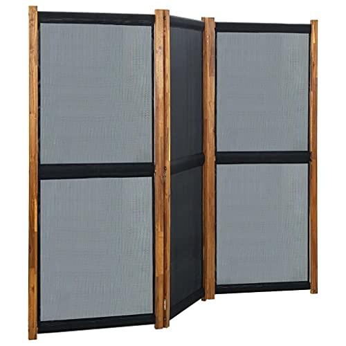 vidaXL Biombo Divisor de 3 Paneles Separador Ambientes Privacidad Pantalla Plegable Partición Habitación Vestidor Decoración Negro 210x170 cm