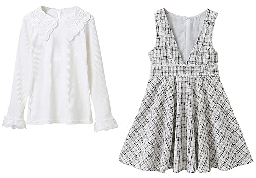 ZRFNFMA Vestidos de niñas Big Niños Falda de Dos Piezas Plaid Girls Primavera y Vestido de otoño grid-160cm