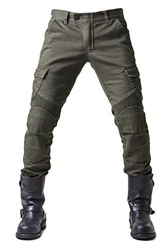 Tencasi Biker Jeans zum Männer Sommer Frühling Atmungsaktiv Reiten Hose Motocross Hose mit Hüftknieschützern Olivgrün
