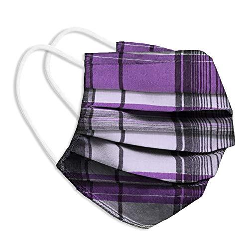 Behelfsmaske Alltagsmaske Community-Maske - Farbe lila schwarz kariert - mehrfach verwendbar (waschbar) - mit Nasenclip - Behelfsmundschutz Mundbedeckung Spuckschutz