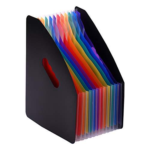 Kstyhome Carpeta de archivos expandible de 12 Bolsillos Organizador de archivos Accordian Organizador de documentos de tamaño carta A4 Estante de archivos Color del arco iris para la escuela
