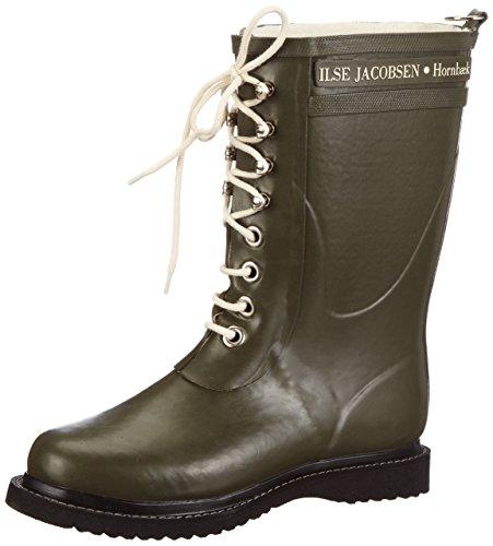 ILSE JACOBSEN HORNBÆK   Halbhohe Damen Gummistiefel aus Natur Bio Gummi   Wasserdicht   PVC Frei   3/4 Lange Stiefel mit Schnürsenkel aus Baumwolle   RUB15   Grün 39 EU