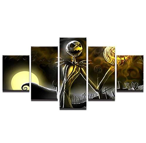 WLHCJJ Víspera de Halloween película de Anime Impresión HD Pinturas Decorativas Pinturas Colgantes 5 ortografía @ 30x50cmx2_30x70cmx2_30x80cm