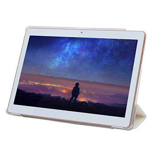HOPESUNIN Tablet Android 7.0 3G, 4 GB + 64 GB, Tablet Android con display IPS HD da 10,0 pollici, 2 slot per schede SIM, quad-core, 1,3 GHz, Bluetooth, WiFi, GPS, doppia fotocamera, bianco