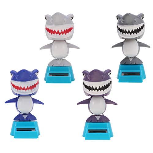 PRETYZOOM 4 Piezas de Juguete de Baile con Energía Solar Tiburón Columpio Muñeca Figura de Animal Adorno de Escritorio para La Decoración del Salpicadero del Coche de La Oficina en Casa
