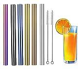 Pajitas de Acero Inoxidable, 6 Pzas pajitas Reutilizables con 2 Cepillos, Para de Bebida y Batidos, Pajitas de Metal de