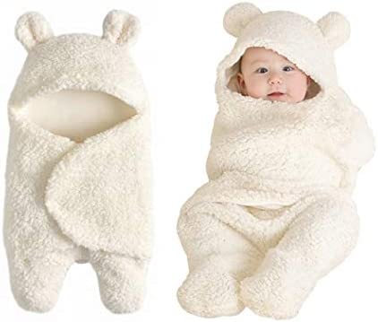 Baby Swaddle Blanket Boys Girls Cute Cotton Plush Receiving Blanket Newborn Sleeping Wraps for product image