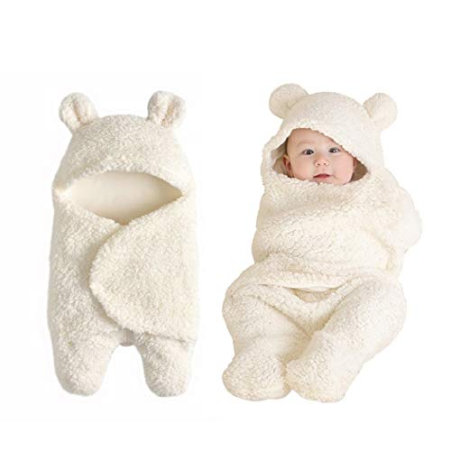 Baby Swaddle Blanket Boys Girls Cute Cotton Plush Receiving Blanket Newborn Sleeping Wraps for 0-6 Months