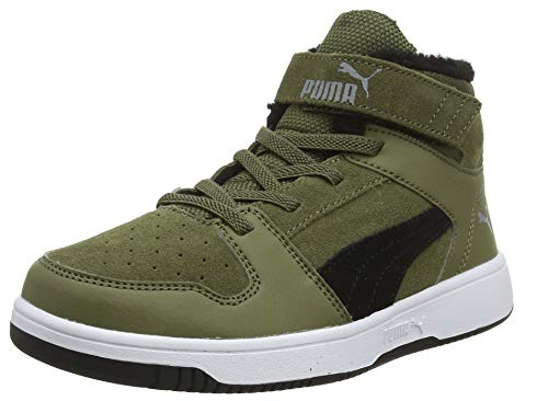 PUMA Baby Unisex-Kinder Basket Flower Ac Inf Sneaker, Grün (Burnt Olive-Puma Black-Limestone-Puma White 02), 33 EU (1 UK)