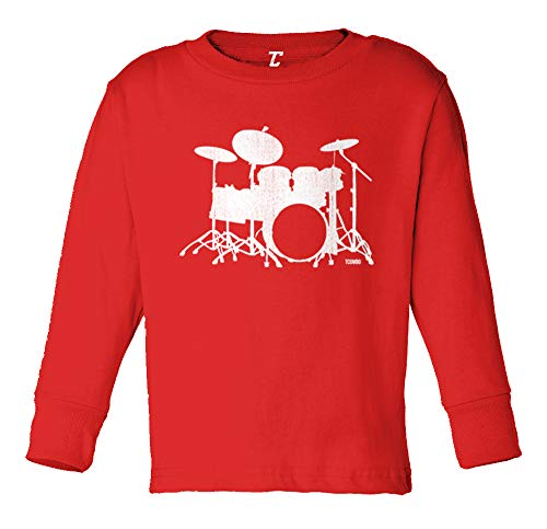 Drum Silhouette - Band Music Long Sleeve Toddler Cotton Jersey Shirt (Red, 4T)