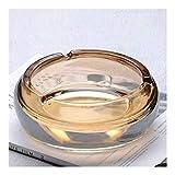 El cristal de cigarros, contiene un cojín, diseño de placas a prueba de viento, bandeja de ceniza redonda para uso doméstico, mesa de bandeja de ceniza de mesa interior (color: ámbar, tamaño: m) YXF99
