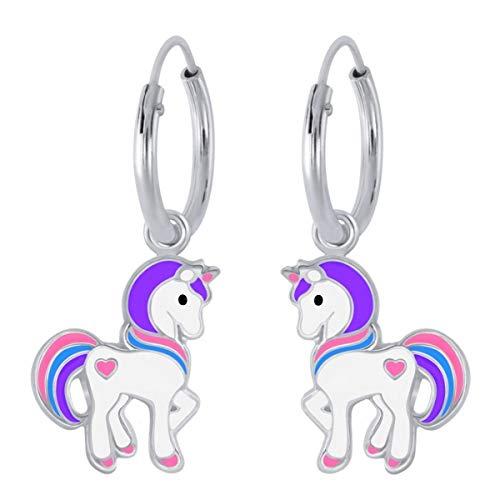 Kids Herz Einhorn Creolen 925 Echt Silber Pferde Kinder Mädchen Ohrringe (Motiv 1)