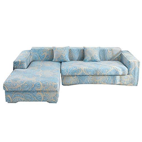 Hiser Funda Elástica de Sofá Universal Chaise Longue Fundas Protectora para Sofa contra Polvo en Forma de L 2 Piezas Extraíbles y Lavables Cubre Proteger (Azul Elegante,4 Asientos + 3 Asientos)