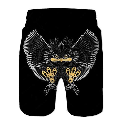Xunulyn Hombres Cordón Elástico Cintura Traje de baño Shorts de Playa Ave de Presa Águila Brillante