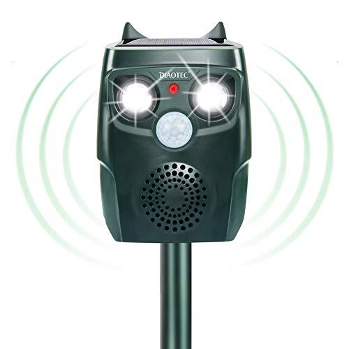 Diaotec Ultrasonic Animal Repellent Dog Repeller Cat Deterrent Get rid of Squirrel Deer Solar Powered Waterproof Outdoor (Dark Green)