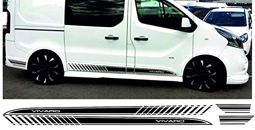 SUPERSTICKI Opel Vivaro LWB Seitenstreifen Set beidseitig Side Stripes Racing Vauxhall Transporter Aufkleber Autoaufkleber Tuningaufkleber Hochleistungsfolie für alle glatten Flächen UV und