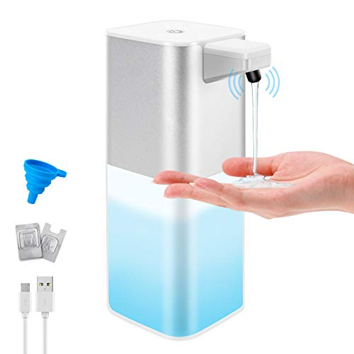 Aircover Touchless Soap Dispenser 13.5oz/400ml Automatic Hand Sanitizer Dispenser with Infrared Motion Sensor Waterproof Automatic Soap Dispenser Rechargeable with Wall Mounted for Kitchen Bathroom