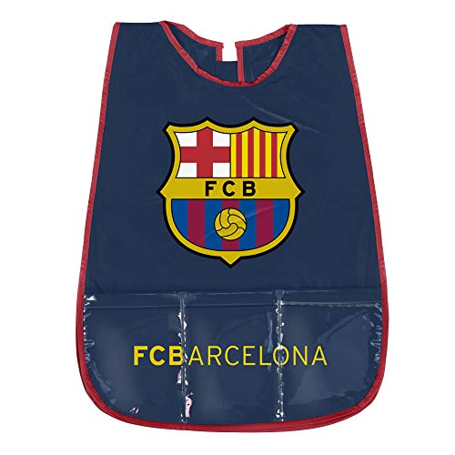 PERLETTI Delantal Infantil FC Barcelona - Bata Escolar Impermeable del Barça con Bolsillo Delantero - Ideal para Mantener la Ropa Limpia y Seca - Azul - 3-5 Años