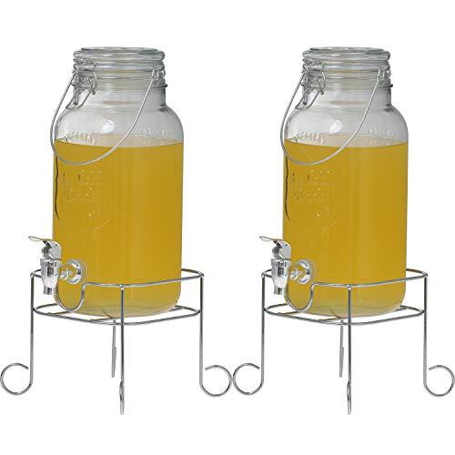 Clic-And-Get - Dispenser per bevande con rubinetto, 4 l, 5 l, 8 l, in vetro Enjoy, con supporto e rubinetto