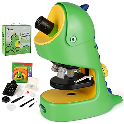TELMU Kids Microscope 40X-400X Magnification, Science Experiment Portable Microscope Kit with Microscope Slides, LED Light, Educational Toys and Birthday Gifts for Ages 5 to 10