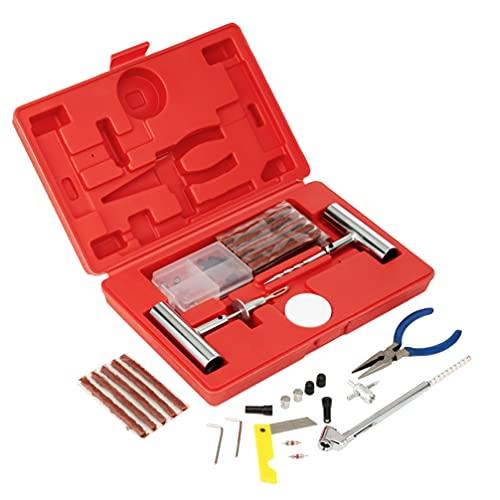 64 Piezas| Kit de Reparación de Pinchazos de Neumáticos - Repara Todo Tipo de Neumáticos Tubeless en Moto, Coche, etc| Confiable, Portátil y Fácil de Usar para Viajes, Emergencias.