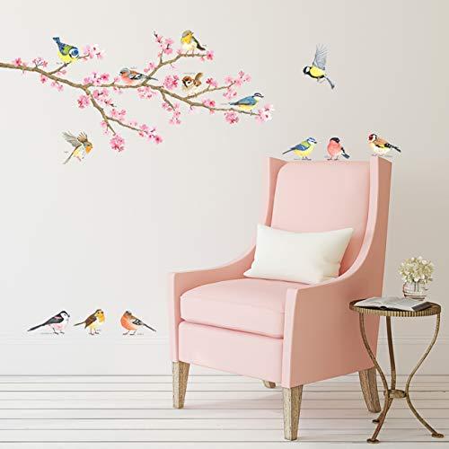 DECOWALL DA-1904 fiore di ciliegio & Uccelli da giardino Adesivi da Parete Decorazioni Stickers Murali Soggiorno Asilo Nido Camera Letto per Bambini decalcomanie