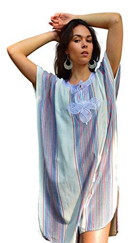 Maison de Marrakech Witte bedoeïenen Maxi Korte Tuniek Jurk Strandbedekking Kaftan, Strand Bruiloft, Vakantiekleding, Loungekleding, Zomerjurk, Ramadan, Eid