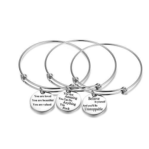 Jvvsci 3PCS Stainless Steel Inspirational Charm Bracelets Jewelry Set Engraved Message Motivational Expendable Bangles for Women Girls