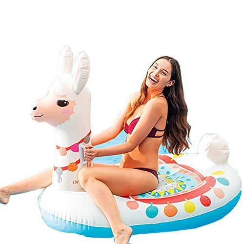 DODOBD Aufblasbare Pool Tiere Lama Tier Wassertier Schwimmtier Luftmatratze Wassermatratze Badeinsel Reittier mit Haltegriffe für Pool See Wasser-Spielzeug Kinder ab 3 Jahre