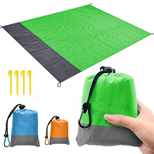 KAEHA S-IT-003-03 strandhanddoek, zand, picknick, reistas, draagbaar, waterdicht, voor kamperen, wandelen, groen, 57 x 79 cm