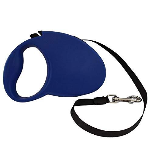 Correa para Perros Extensible de 5 Metros   Correa Extensible para Perros medianos y pequeños de hasta 20 Kilos   Correas con Cinta de Nylon retráctil antienredos con Mango Antideslizante. (Azul)