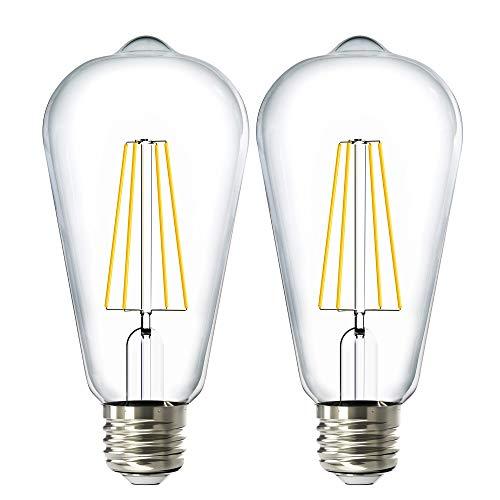 Sunco Lighting 2 Pack ST64 LED Bulb, Dimmable, Waterproof, 8.5W=60W, 4000K Cool White, Vintage Edison Filament Bulb, 800 LM, E26 Base, Restaurant or String Lights - UL, Energy Star