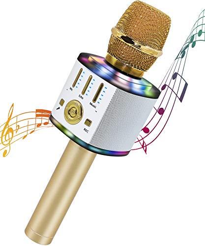 Micrófono Karaoke 5 en 1 Bluetooth Micrófono Niños con luces LED multicolor para cantar, Wireless Portátil Karaoke Player con Altavoz para Android/iOS, PC y Smartphone
