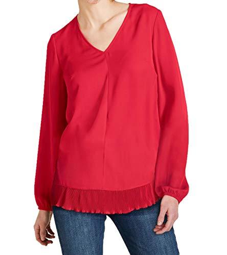 Ashley Brooke Bluse Freizeit-Bluse Schlichte Damen Frühlings-Bluse Langarm-Bluse Business-Bluse mit Pliessee-Besatz Rot, Größe:38
