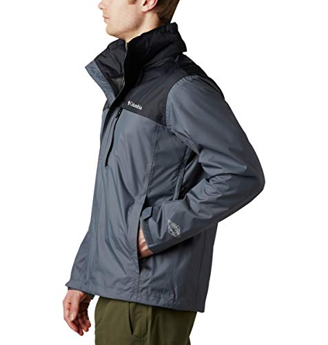 Columbia Men's Pouration Waterproof Rain Jacket, Graphite/Black, Medium