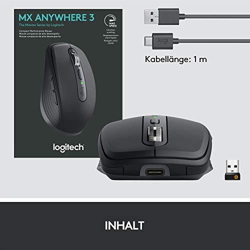 Logitech MX Anywhere 3 kompakte, leistungsstarke Maus – Kabellos, Magnetisches Scrollen, ergonomisch, anpassbare Tasten, USB-C, Bluetooth, Apple Mac, iPad, Windows PC, Linux, Chrome - Grafit - 5