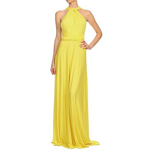 Vestido amarillo de fiesta de mujer sin mangas