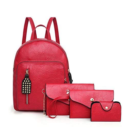 Reisen & FreizeitDamen Umhängetasche Schultertasche Tragbare Studententasche Vintage Mutter Pack Vierteilige Niete, 25 * 31 * 13Cm@RotMultifunktional