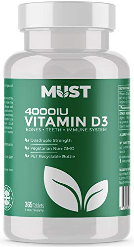 Vitamin D 4000 IU - 365 Easy-Swallow Micro Tablets. Made in The UK - Vegetarian Food Supplement VIT D3