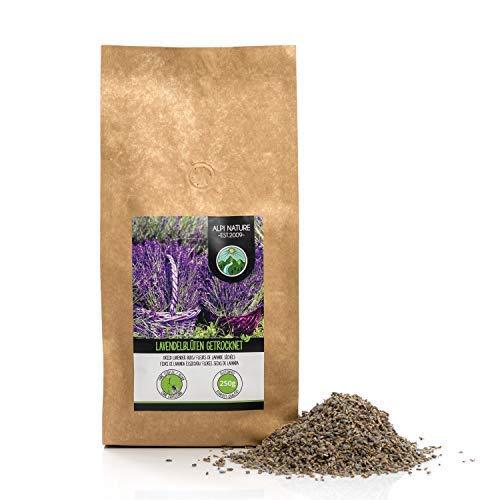 Lavendelblüten getrocknet (250g), Lavendel 100% naturrein, duftintensiv, schonend getrocknet und ohne Zusätze zur Teezubereitung, Duftsäckchen oder Deko